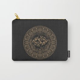Pisces Zodiac Mandala - Gold on Charcoal Carry-All Pouch