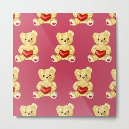 Cute Teddy Bears Pink Pattern Metal Print