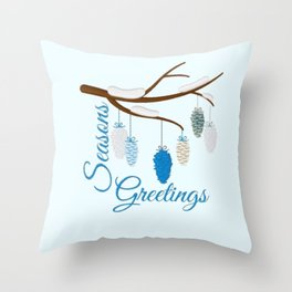 Seaons Greetings With Pine Cones Throw Pillow