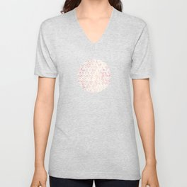 Geometric Gold Pattern on Pink Marble Unisex V-Neck