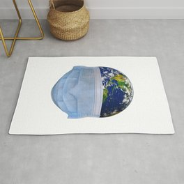 World Wearing a Face Mask Rug