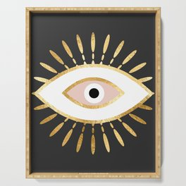 gold foil evil eye in blush Serving Tray