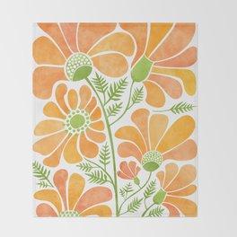 Happy California Poppies / hand drawn flowers Throw Blanket