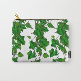 TRAILING VERDANT GREEN IVY LEAVES & VINES ON WHITE Carry-All Pouch