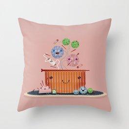 Knitting Pot Throw Pillow