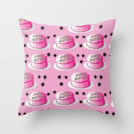 Iconic happee birthdae pink and green frosting birthday cake Throw Pillow