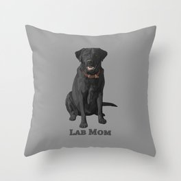 Dog Mom Black Labrador Retriever Throw Pillow