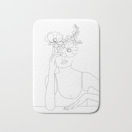 Minimal Line Art Woman with Flowers II Bath Mat