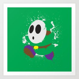 Green Shy Guy Splattery Design Art Print