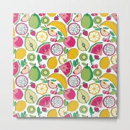Paper cut geo fruits // white background multicoloured geometric fruits Metal Print