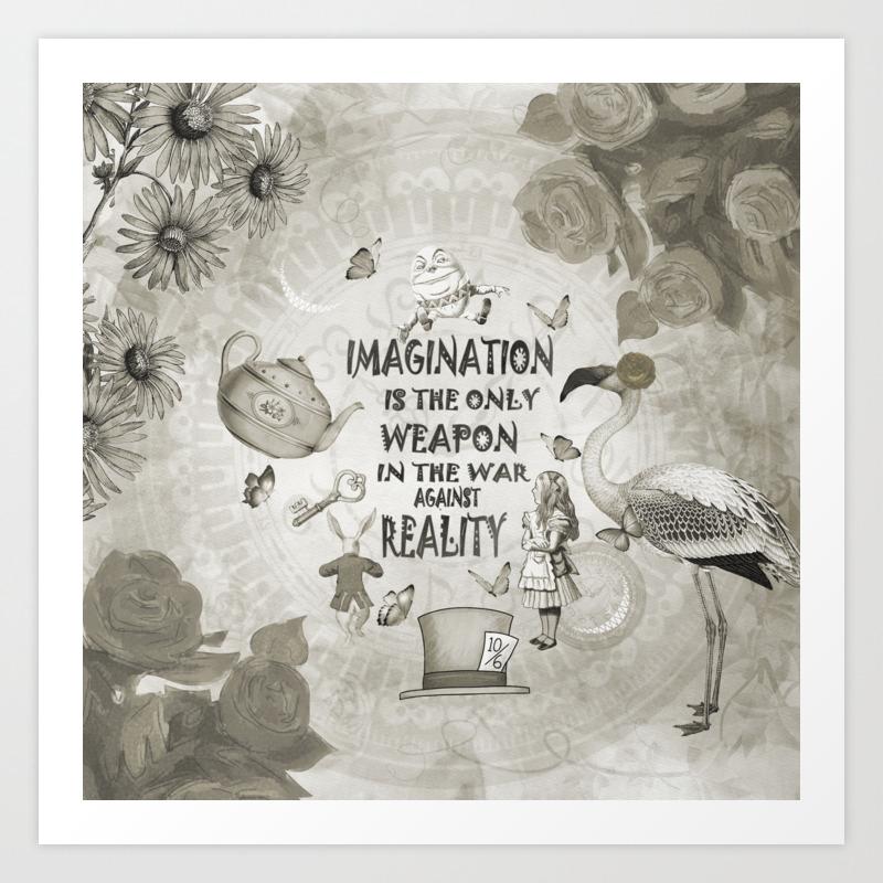 Imagination Vintage Black White Alice In Wonderland Art Print By Nomadartstudio Society6