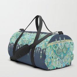 Art Deco Double Drop in Blues and Greens Duffle Bag