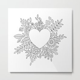 Flourishing Heart Adult Coloring Illustration, Heart and Flowers Wreath Metal Print