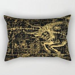 Taurus Constellation, Astronomy, Astrology, Zodiac, Horoscope, Vintage Engraving Art Map Rectangular Pillow