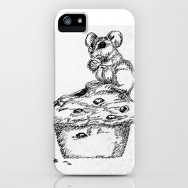 """""""Blueberry Muffins are the Best"""" Mouse and muffin sketch iPhone Case"""