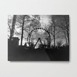 Ferris wheel black and white Metal Print