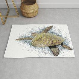 Sea turtle swimming Rug