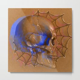 Electric Blue Traditional Skull Metal Print