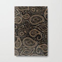 Beautiful Pattern of Paisley Art, Flowers, Doodles - Gradient Gold Pattern Metal Print
