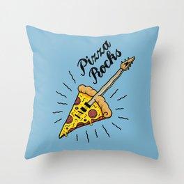 Pizza Rocks - Guitar Slice Throw Pillow