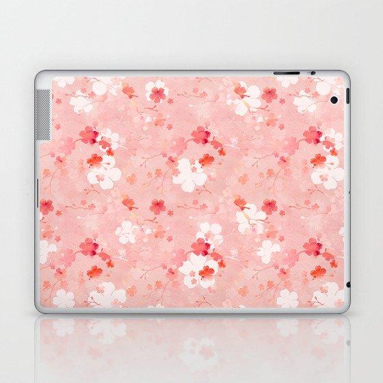 Peach pink Chinese cherry blossom Laptop & iPad Skin