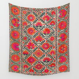 Kermina Suzani Uzbekistan Colorful Embroidery Print Wall Tapestry