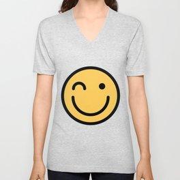 Smiley Face   Squinting Big Smiling Happy Smileys Unisex V-Neck