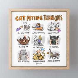 Cat Petting Techniques Framed Mini Art Print