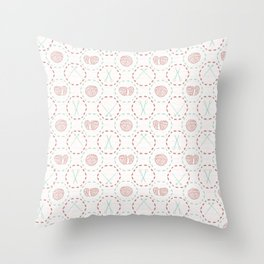 Knitting icon crafts Hand drawn flat style ball of yarn wool Throw Pillow