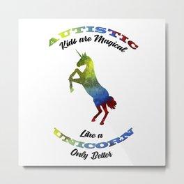 Magical Unicorn Autism Awareness Day Autistic Gift Metal Print