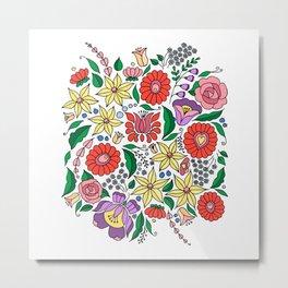 Hungarian embroidery motifs Metal Print