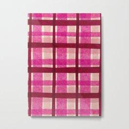 Tissue Paper Plaid - Pink Metal Print