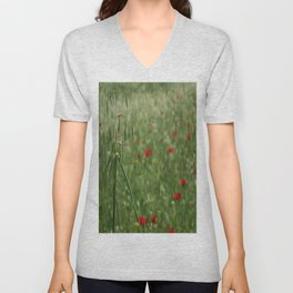 Seed Head With A Beautiful Blur of Poppies Background Unisex V-Neck