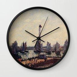 Camille Pissarro - The East Breakwater, Return of The Regatta, Le Havre Wall Clock