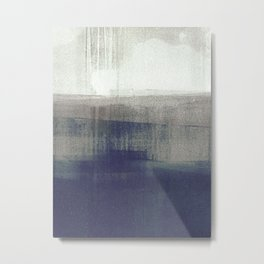 Navy Blue and Grey Minimalist Abstract Landscape Metal Print