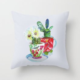 Cacti In Cups Throw Pillow