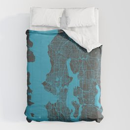Seattle map blue Comforters