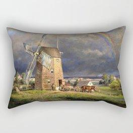 American Masterpiece 'Old Hook Mill, East Hampton, Long Island' by Edward Henry Rectangular Pillow