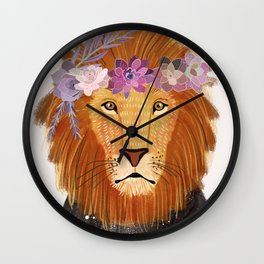 Lion with flowers on head Wall Clock