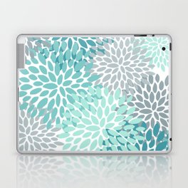Floral Pattern, Aqua, Teal, Turquoise and Gray Laptop & iPad Skin