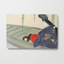 Kamisaka Sekka - Boat from Momoyogusa Metal Print
