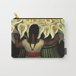 1941 Classical Masterpiece Calla lily 'Flower Seller' by Diego Rivera Carry-All Pouch