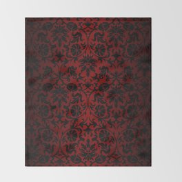 Dark Red and Black Damask Throw Blanket