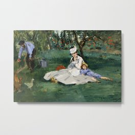 Édouard Manet - The Monet Family in Their Garden at Argenteuil Metal Print