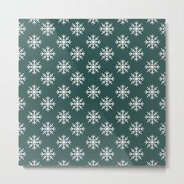 Snowflakes (White & Dark Green Pattern) Metal Print
