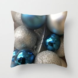 Holiday Blue and Silver Glitter Ornaments Throw Pillow