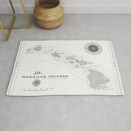 The Hawaiian Islands [Black & White] Map Print Rug
