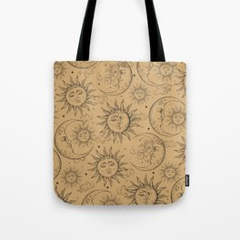 Tan Magic Celestial Sun Moon Stars Tote Bag