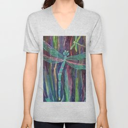 Dragonflies in blue Unisex V-Neck