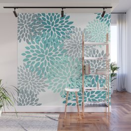 Floral Pattern, Aqua, Teal, Turquoise and Gray Wall Mural